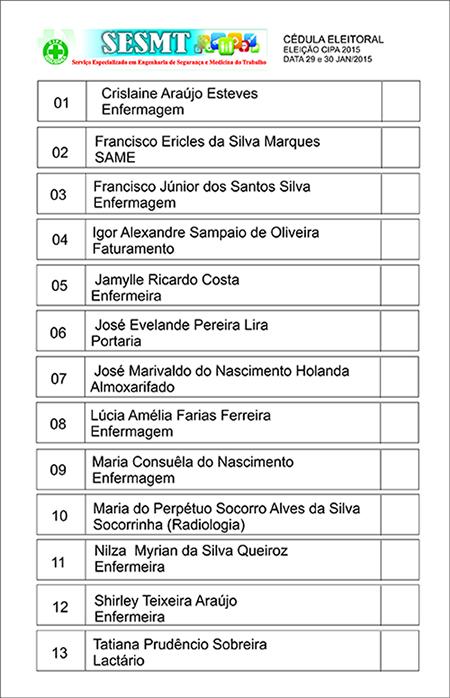 Cédula de Votação CIPA 2015