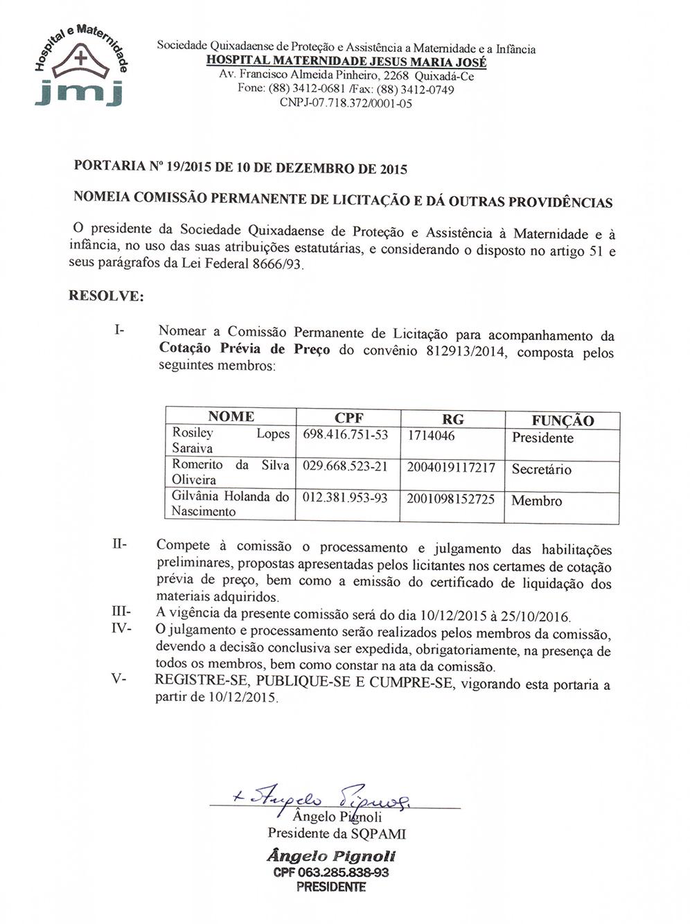 Portaria da Nomeação da Comissão de Licitação