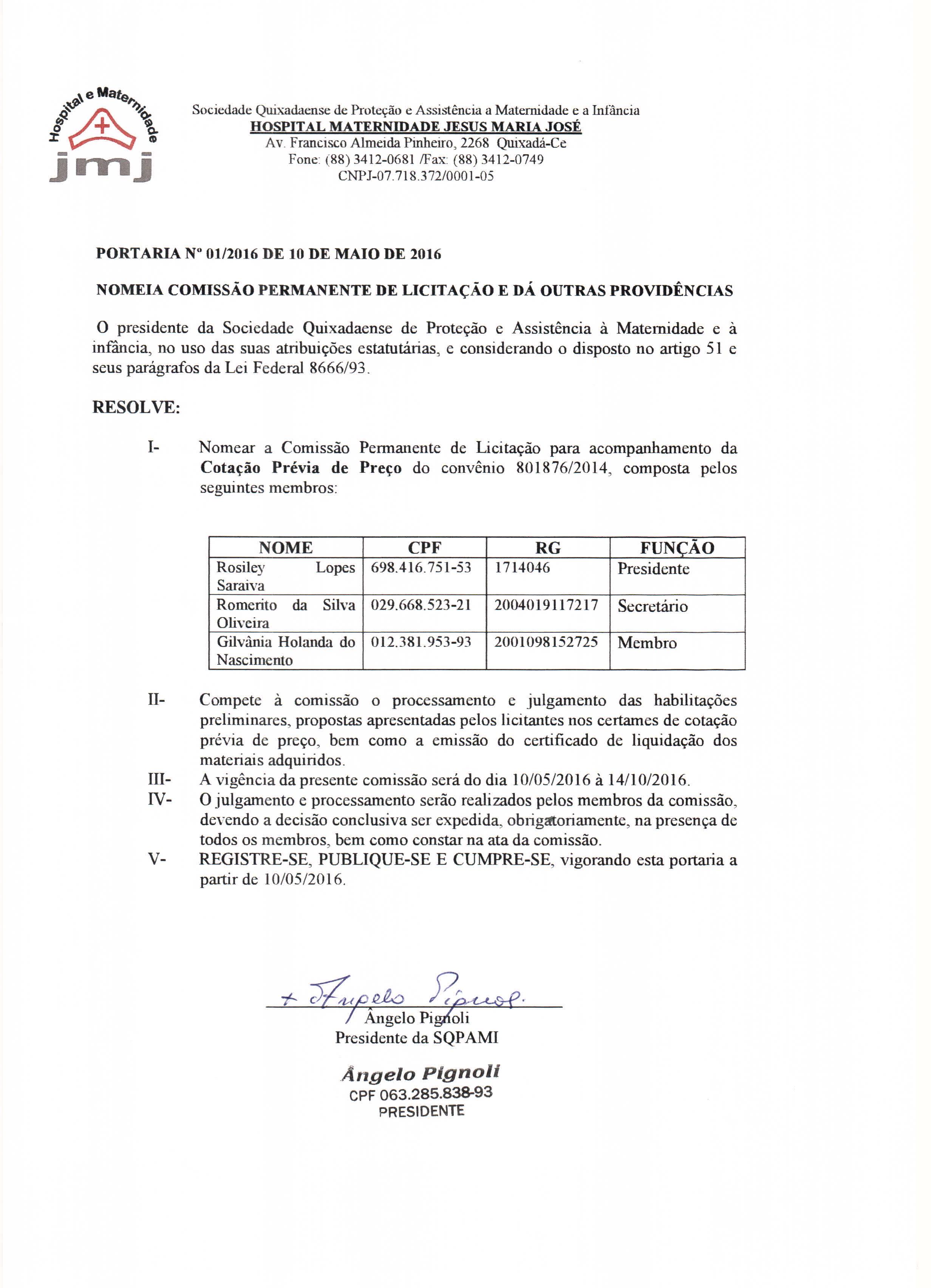 Portaria de Nomeação Comissão de Licitação UTI